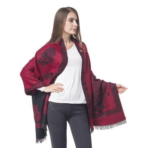 Designer Inspired-Red and Black Colour Paisley and Floral Pattern Blanket Scarf with Tassels (Size 180x67 Cm)
