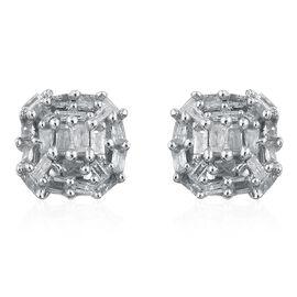 Designer Inspired Fire Cracker Diamond (Bgt) Stud Earrings (with Push Back) in Platinum Overlay Sterling Silver 0.255 Ct.