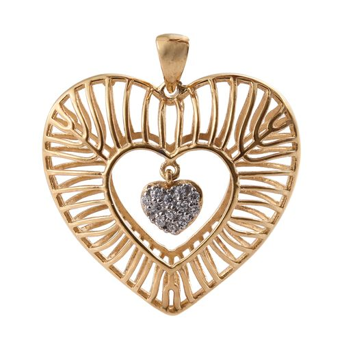 J Francis - 14K Gold Overlay Sterling Silver Dangle Heart Pendant Made with SWAROVSKI ZIRCONIA