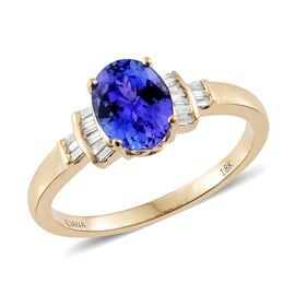 ILIANA 18K Y Gold AAA Tanzanite (Ovl 1.90 Ct), Diamond (SI/G-H) Ring 2.050 Ct.