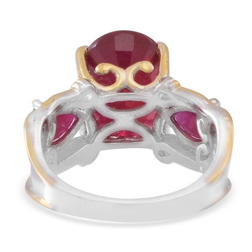 African Ruby (Ovl 9.16 Ct) Ring in Rhodium and Yellow Gold Overlay Sterling Silver 11.000 Ct.