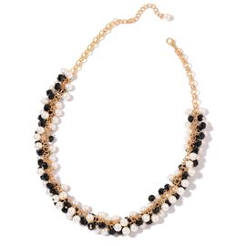 Simulated Spinel and Simulated Pearl Necklace (Size 20 with 2.5 inch Extender) in Yellow Gold Tone