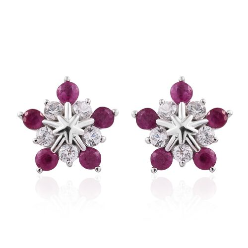 9K White Gold 1.75 Ct AAA Burmese Ruby Snowflake Earrings (with Push Back) with Natural Cambodian Zircon