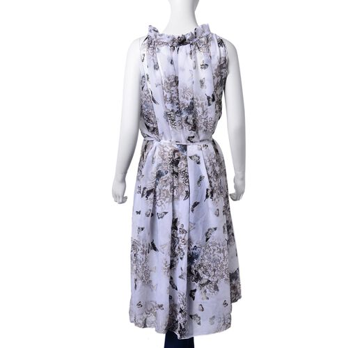 Midi Length Black, Grey and Multi Colour Floral and Butterfly Pattern White Colour Dress (Free Size)