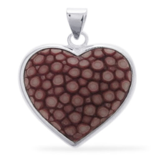 Heart Shape Red Stingray Leather Pendant