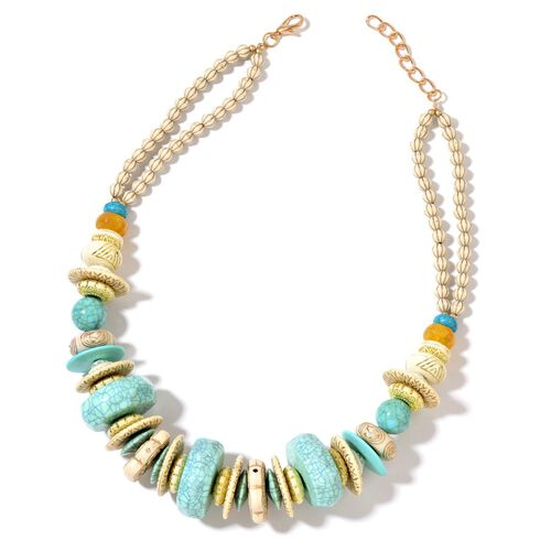 Designer Inspired-Beige and Turquoise Colour Beads Necklace (Size 24 with 2 inch Extender) in Yellow Gold Tone