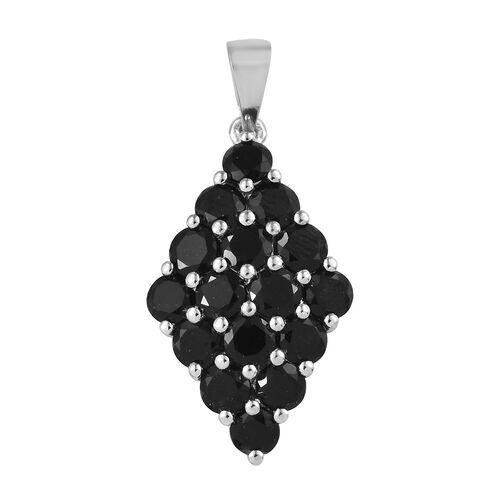 Black Tourmaline (Rnd) Cluster Pendant in Platinum Overlay Sterling Silver 4.500 Ct.