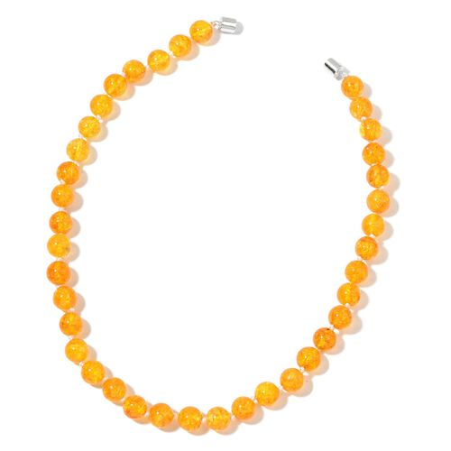 One Time Deal - Big Size Citrine Necklace (Size 18) with Magnetic Clasp in Rhodium Plated Sterling Silver 270.000 Ct.