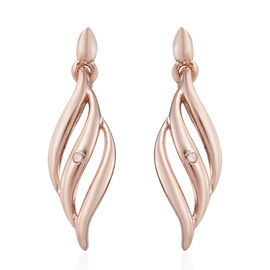 Diamond Earrings in Rose Gold Plated Silver (with Push Back)