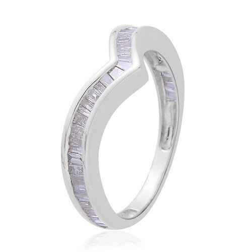 9K W Gold SGL Certified Diamond (Bgt) (I3/G-H) Wishbone Ring 0.500 Ct.