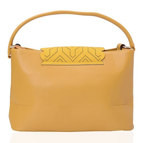 Yellow Colour Laser Cut Pattern Hand Bag (Size 37x22.5x13.5 Cm)