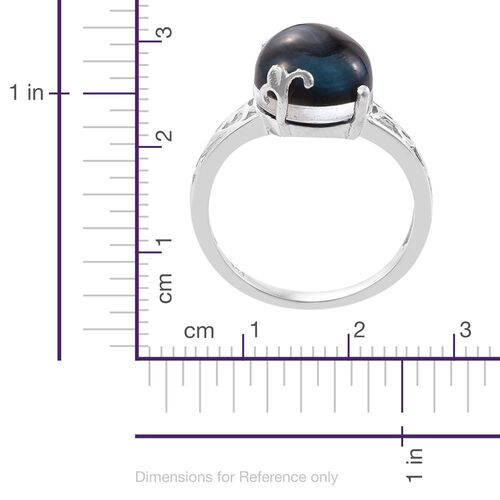 Indicolite Quartz (Ovl) Solitaire Ring in Platinum Overlay Sterling Silver 6.250 Ct.