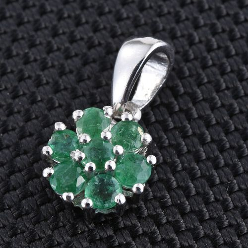 Kagem Zambian Emerald (Rnd) 7 Stone Floral Pendant in Platinum Overlay Sterling Silver 0.750 Ct.