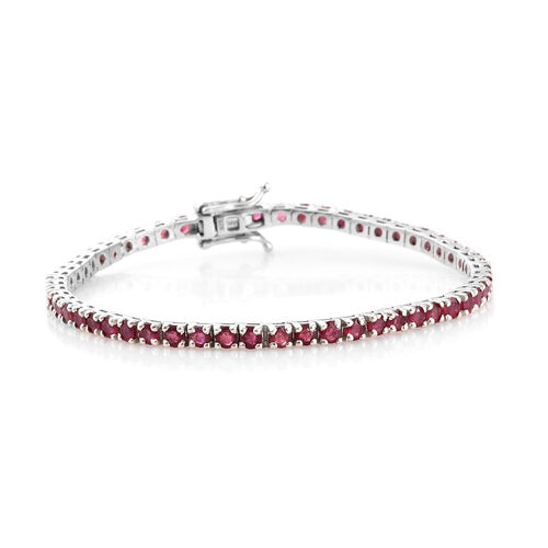 African Ruby Tennis Bracelet in Platinum Plated Silver 9.84 Gms (7.5 Inch) 8 Carat