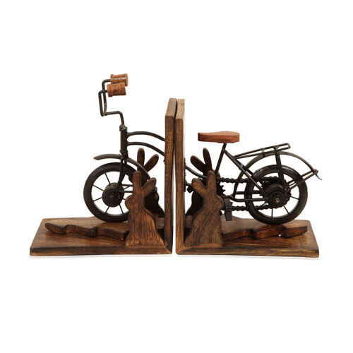 (Option 1) Home Decor - Bicycle Design Bookend (Size 17x10 Cm)