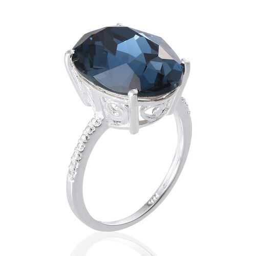 Crystal from Swarovski - Montana Crystal (Ovl) Ring in Sterling Silver 10.750 Ct.