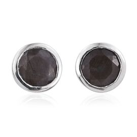Natural Zawadi Golden Sheen Sapphire (Rnd) Stud Earrings (with Push Back) in Platinum Overlay Sterling Silver 2.000 Ct.