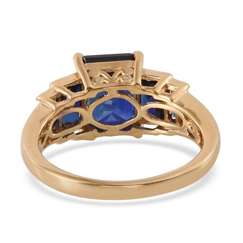 ELANZA AAA Simulated Blue Sapphire (Oct), White Topaz Ring in 14K Gold Overlay Sterling Silver