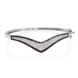 Brand New Black Diamond (Rnd), White Diamond Wishbone Bangle (Size 7.5) in Platinum Overlay Sterling Silver 2.750 Ct. Silver wt 19.00 Gms.