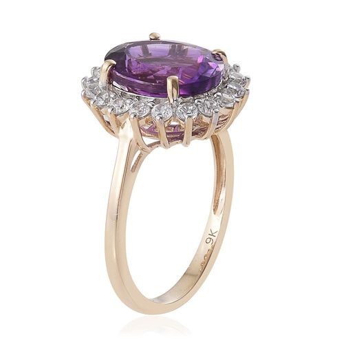 9K Y Gold AAA Moroccan Amethyst (Ovl 5.75 Ct), Natural Cambodian Zircon Ring 6.500 Ct.