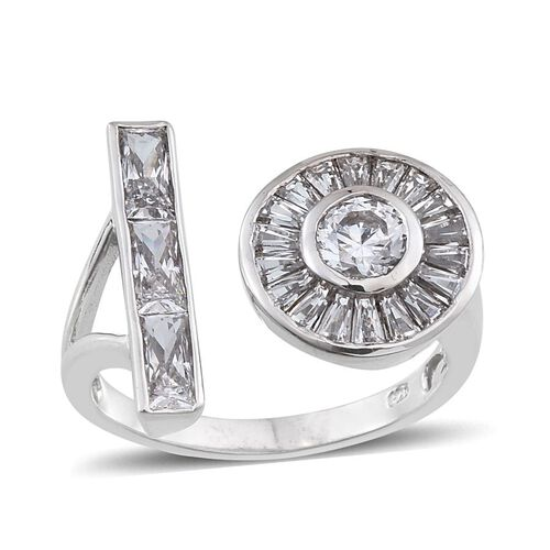 J Francis - Platinum Overlay Sterling Silver (Rnd) Open Ring Made with SWAROVSKI ZIRCONIA
