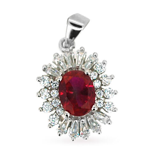 ELANZA AAA Simulated Ruby (Ovl), Simulated Diamond Pendant in Rhodium Plated Sterling Silver