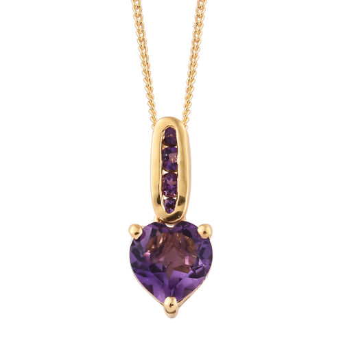 Amethyst 2.75 Ct Silver Pendant with Chain and Earrings (with Push Back) in Gold Overlay