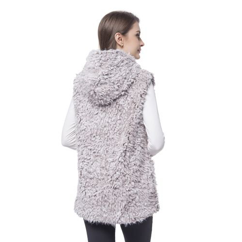 Close Out One Time Deal- Coffee and White Colour Faux Fur Hoodie Reversible Gilet (Size 70X50 Cm)