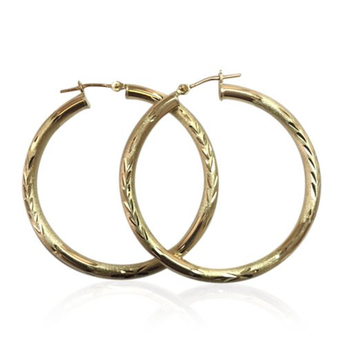 JCK Vegas Collection 9K Yellow Gold Hoop Earrings (with Clasp Lock). Gold Wt 2.70 Gms