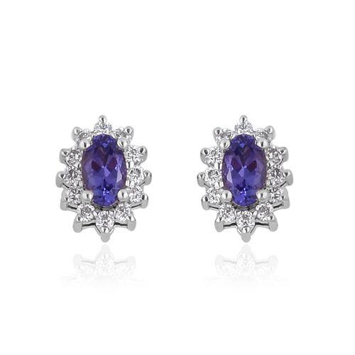 RHAPSODY 950 Platinum AAAA Tanzanite (Ovl), Diamond (VS/E-F) Stud Earrings (with Screw Back) 0.750 Ct.