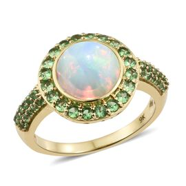 Super Auction- Collectors Editions 9K Yellow Gold AA Rare Size Ethiopian Welo Opal (Rnd 10mm) and AA Tsavorite Garnet Ring 3.250 Ct.