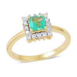 ILIANA 18K Yellow Gold 0.75 Ct AAA Boyaca Colombian Emerald Halo Ring with Diamond SI G-H