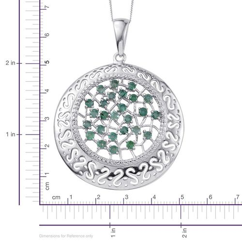 Kagem Zambian Emerald (Rnd) Pendant With Chain in Platinum Overlay Sterling Silver 1.750 Ct.