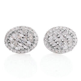 Diamond (Bgt) Stud Earrings (with Push Back) in Platinum Overlay Sterling Silver 0.330 Ct.