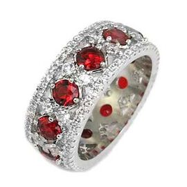 AAA Simulated Ruby (Rnd), Simulated Diamond Full Eternity Ring in Silver Bond, Number of Simulated Diamonds 130