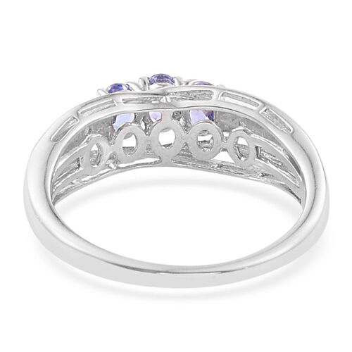Tanzanite, Diamond 0.50 Carat Ring in Platinum Overlay Sterling Silver