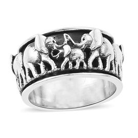TJC Launch Designer Inspired Sterling Silver Elephant Spinner Band Ring, Silver wt 7.95 Gms.