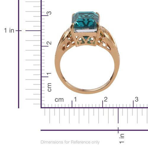 Capri Blue Quartz (Oct) Solitaire Ring in 14K Gold Overlay Sterling Silver 4.250 Ct.