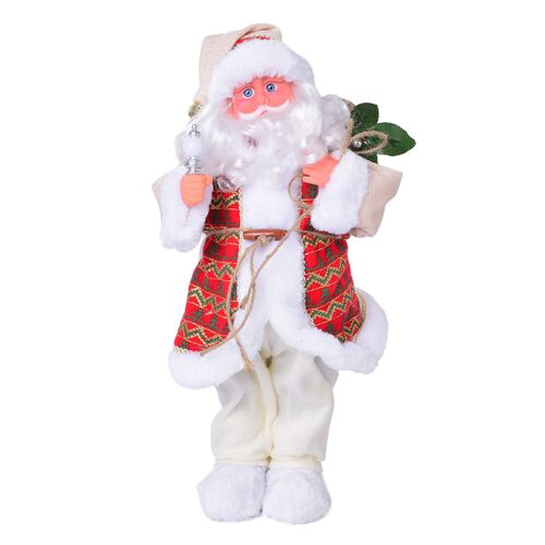 CHRISTMAS SPECIAL DEAL - White and Red Singing Santa with Silver Magic Wand and Gift Bag (Size 47 Cm)