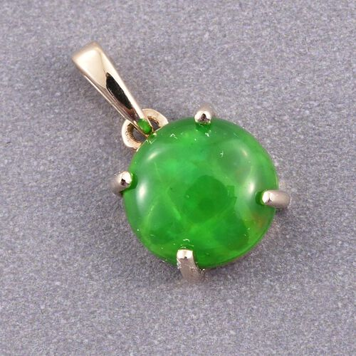 9K Yellow Gold Green Ethiopian Opal (Rnd) Solitaire Pendant 1.000 Ct.