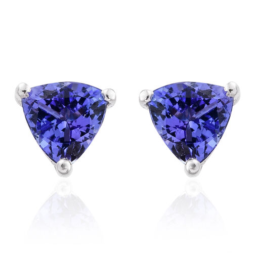 ILIANA 18K White Gold 1 Carat AAA Tanzanite (Trl) Stud Earrings (with Screw Back)