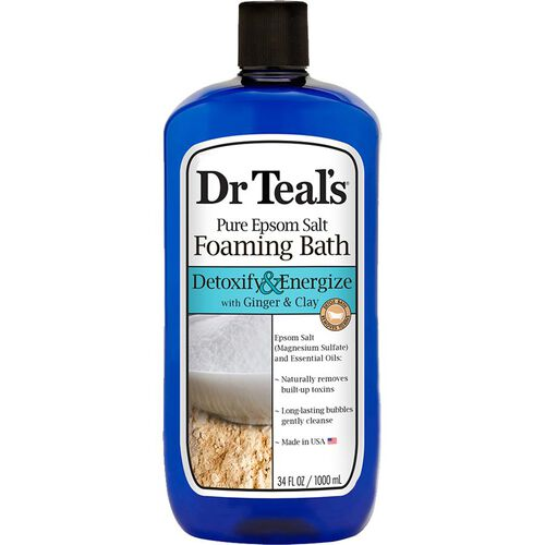 Dr Teals Pure Epsom Salt Foaming Bath Detoxify and Energize with Ginger and Clay  1 L