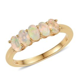 Ethiopian Welo Opal 0.75 Ct Silver 5 Stone Ring in Gold Overlay