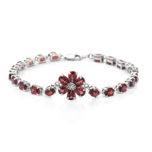 Mozambique Garnet (Ovl), Natural White Cambodian Zircon Bracelet (Size 7.5) in Rhodium Overlay Sterling Silver 15.010 Ct, Silver wt 7.25 Gms.
