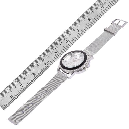 GENOA Japanese Movement Silver Dial Water Resistant Watch in Silver Tone with Stainless Steel Back and Chain Strap