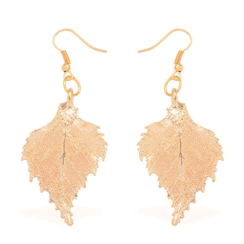 Tucson Collection Birch Leaf Hook Earrings Dipped in 24K Gold (Size 17x38 mm)