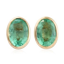 9K Yellow Gold 1.50 ct. AA Boyaca Colombian Emerald Solitaire Stud Earrings (with Push Back)