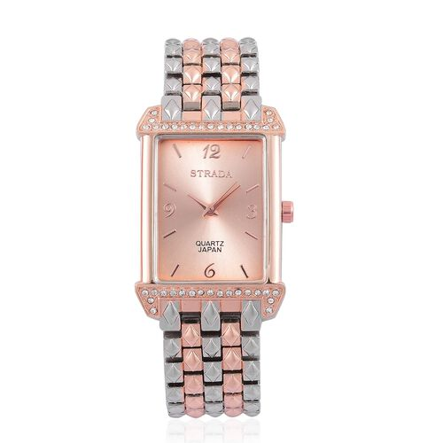 STRADA Japanese Movement White Austrian Crystal Water Resistant Watch in Rose Gold and Silver Tone with Stainless Steel Back