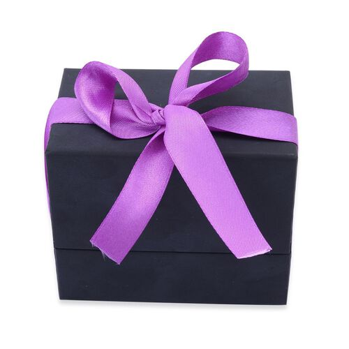 Luxury Black Watch and Bangle Gift Box With Purple Ribbon [10x6.2x8.4cm]
