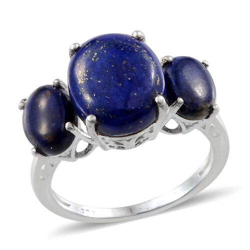 Lapis Lazuli (Ovl 4.00 Ct) 3 Stone Ring in Sterling Silver 6.000 Ct.